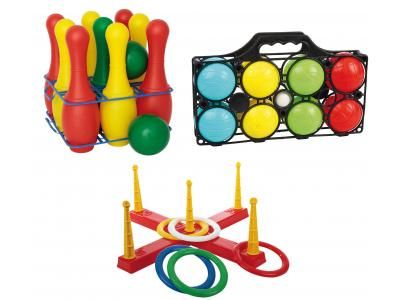 Bild zu Spiele Set Kinderparty Rolly Toys Kegelspiel Ringwurfspiel Boccia in and out