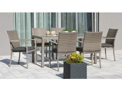 Bild Zu Garten Sitzgruppe Rattan Braun 6 Gartenstühle Mit Esstisch Grau