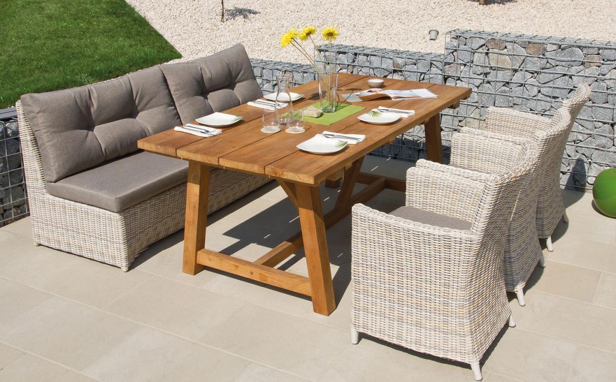 preissturz design sitzgruppe calma 1 gartenbank 3 st hle teak tisch 200 cm mit polster gutes. Black Bedroom Furniture Sets. Home Design Ideas