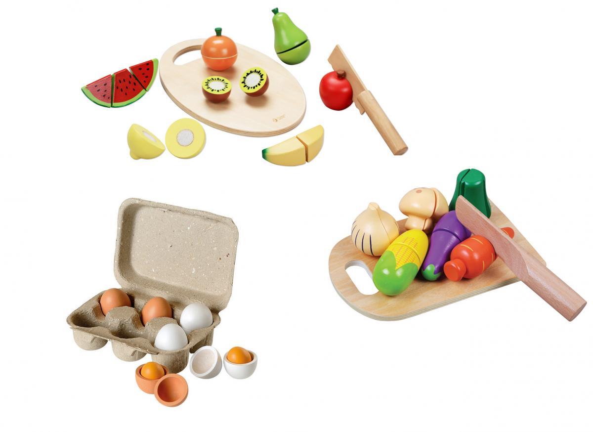 Preissturz » Lebensmittel Set Aus Holz Schneidbar Für