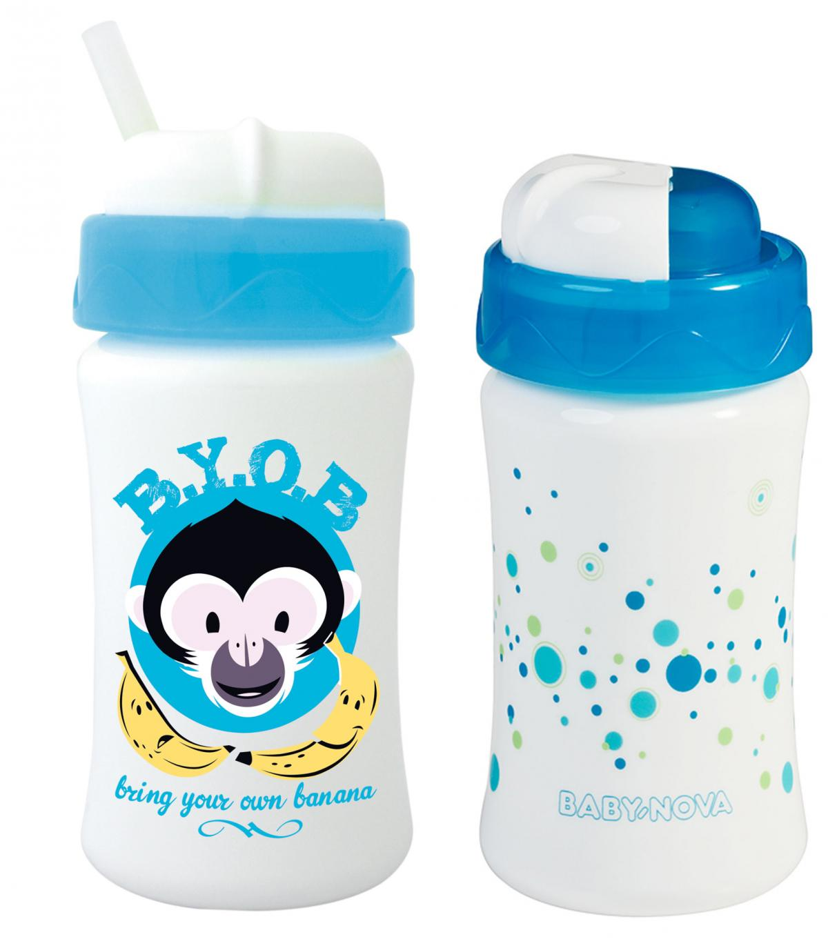 2 Stk Blau Baby-Nova Trinklernbecher 2 Stk Tropf Stopp Kinder-Becher