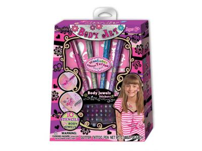 Bild zu Hot Focus Body Art Set Glitter Tattoo Pen mit Vorlagen Juwelen uvm