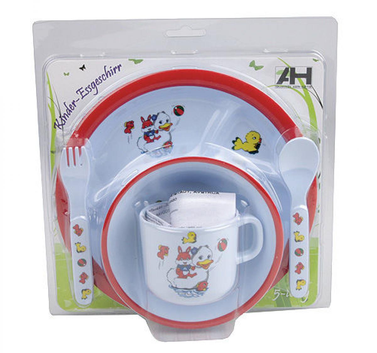 preissturz baby esset kindergeschirr 5tlg mit teller besteck schale tasse 3 farben w hlbar. Black Bedroom Furniture Sets. Home Design Ideas