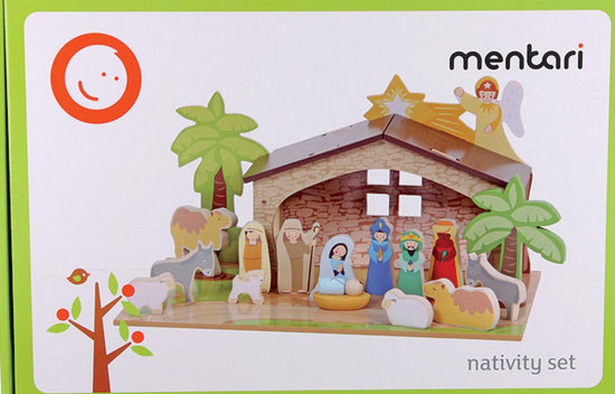 Kleinkindspielzeug Mentari Krippe für Kinder Weihnachtskrippe aus Holz Spielset NEU 226367