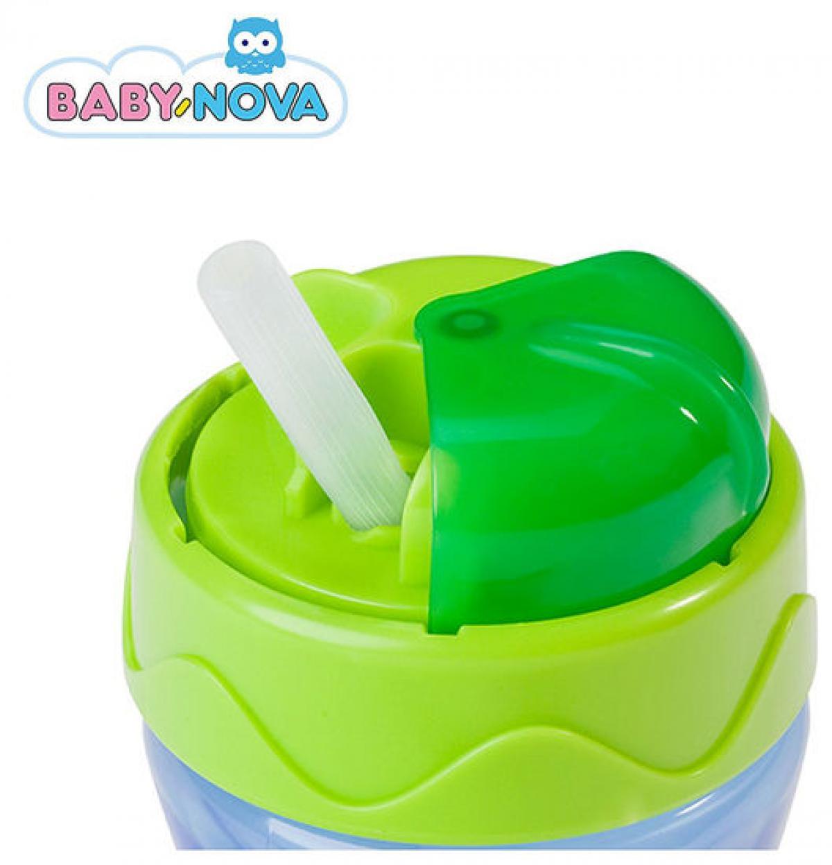 Baby Nova 2er Set Trinkhalmbecher Strohalmbecher Silikon 2er Set in blau